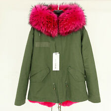 Queenfur Real Raccoon Fur Collar Coat Winter Nature Rex Rabbit Fur Inner Outwear
