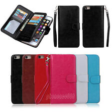 Luxury 9 Card slot Leather Wallet Case Flip Cover For Apple phone 6 6S 6 Plus