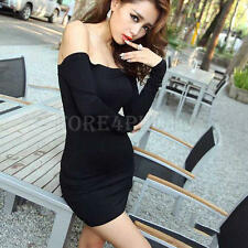 Women's Off Shoulder Stretch Tunic Tight Fitted Club Party Sexy Mini Dress Black