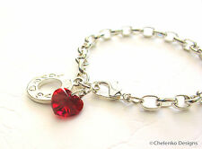 Valentine Love Crystal Heart Charm Clip on Belcher link chain style Bracelet