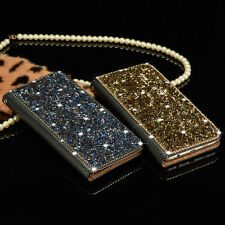 Luxury Wallet Metal Crystal Diamond Flip Leather Case Cover For iPhone / Samsung
