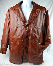 Sears Leather shop Vintage Men's Burnt Orange Jacket 44 Reg Fight Club Tyler Mod