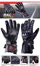 RAC3 Motorbike Motorcycle Scooter Carbon Molded Knuckle Cowhide Leather Gloves