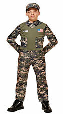 Soldier Boy Fancy Dress With Vest Camouflage Khaki Military Army Combat USA