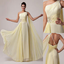 One Shoulder Long Formal Evening Gown Bridesmaid Prom Wedding Pageant Dress Plus