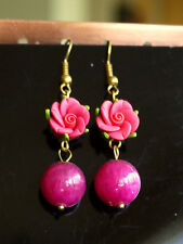 Polymer Camellia Flower Earrings With Jade Beads/crystal