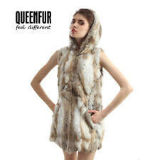 Real Knit Rabbit Fur Hooded Vest Fashion Nature Rabbit Fur Gilet Women Waistcoat