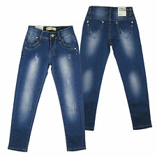 Kids Skinny Jeans Elasticated Girls Distressed Stretchy Denim Trousers Age 3-12