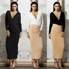 Sexy Women Two-Piece Dress Deep V Neck Ruffle Crop Top High Waist Skirt Set N4A0