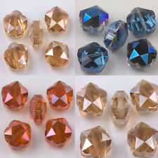 5/10Pcs Crystal Glass Faceted Round Loose Bead Charm DIY Jewelry Making 14x7mm