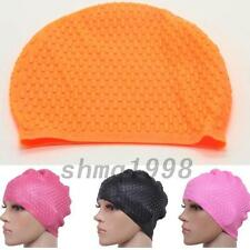 Sport Adult Silicone Stretch Swimming Long Hair Cap Hat Ear Protector Waterproof