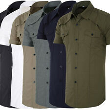 Stylish Design Mens Short Sleeve Tops Button Shirts Casual Slim Fit Dress Shirts