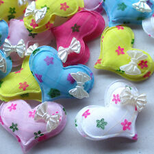 30/60/300PCS 40mm Padded Felt Sweet Heart Rhinestone Appliques Craft Mix