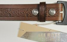 Brown Celtic Knot Embossed Real Leather Men's Snap Belt 1.5″ Wide Irish Made