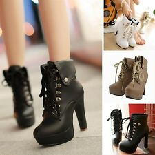Women High Heel Leather Stilettos Shoes Fashion Booties Pumps Winter Ankle Boots