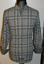 $99 ENGLISH LAUNDRY M Gray Plaid Paisley Print RETRO Mens Button Dress Shirt