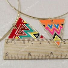 Punk Geometric Triangle Egypt Style Necklace Colorful Choker Neck Cuff Gold Tone