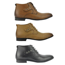 Mens Faux Leather Italian Designer Smart Casual Derby Ankle Lace up Boots Shoes