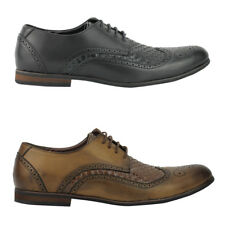 Mens Black Brown Faux Leather Smart Casual Lace up Brogue Formal Shoes Size 6 11
