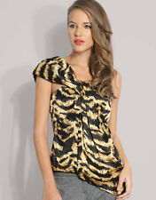 ladies Karen Millen Silk Animal Print One Shoulder Top Black Gold Blouse Size 6