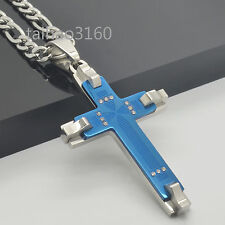 """316L Stainless Steel Silver Blue Cross Pendant Figaro Chain 18-40"""" Necklace166"""