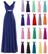 Sexy V Neck Evening Prom Gown Formal Long Chiffon Wedding Party Bridesmaid Dress