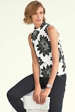 NEW NEXT blouse black and white floral  top tunic shirt 10 12 14 20 party casual