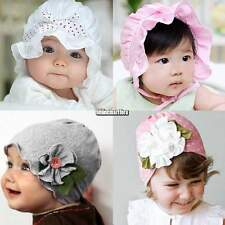 Baby Kids Cotton Lace Flower Beanie Sunhat Bucket Hat Soft for New Born to 3yrs