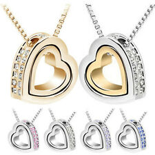 Fashion Lady Womens Alloy Heart Crystal Charm Pendant Chain Necklace Jewelry