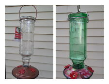 Antique Glass Bottle Hummingbird Feeder 16oz Nectar Capacity Clear/Green Bottle