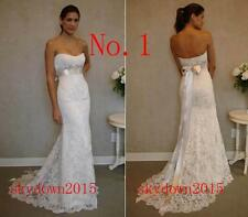 White Ivory Beads Lace Bow Train Customize Wedding Dress 2 4 6 8 10 12 14 16 18
