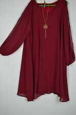 1X-2X-3X A Touch of Lovely Plus Size Chiffon Necklace Dress - Burgundy 1X-2X-3X