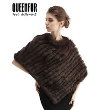 Queenfur Real Knit Rabbit Fur Poncho Winter Coat Nature Rabbit Fur Fashion Shawl