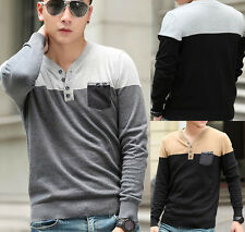 New Mens Fashion Slim Fit V-neck Sweater Jumper Cardigan Knitted Pullover Tops