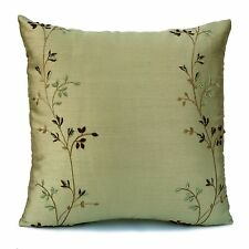 Lime Green Silk Decorative Throw Pillow Cover with embroidery,Modern Pillow