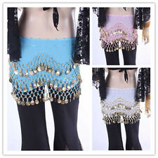 Hot Sale 3 Rows Belly Dance Dancing Hip Skirt Scarf Wrap Belt Hipscarf 3 colors