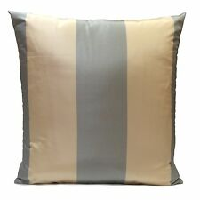 Cream and Baby Blue Silk Home Decorative Accent Throw Pillow Cover with Stripe