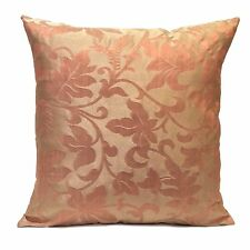 Beige & Salmon Pink Polyester Decorative Throw Pillow Cover with Floral Pattern