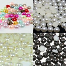 7~10mm 100~1000pcs 4 Colors Half Pearl Beads Flatback Pearls Scrapbook Craft
