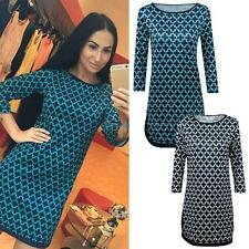 Party Pencil Dress Women 3/4 Sleeve Round Neck Mini Dress Cocktail Party SY43