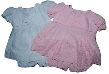 Baby Girls Pink White Broderie Anglaise Dress & Bloomer Set 0-3 3-6 6-9 Month