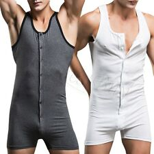 Mens Bodysuit Underwear Tank Leotard Top Button Vest Boxer Sexy Cotton Clothes