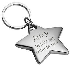 PERSONALIZED SILVER STAR KEYCHAIN CUSTOM NAME ENGRAVED FREE KEY CHAIN NEW