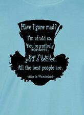 Mad Hatter black ink T-shirt alice wonderland depp burton Unisex Mens Ladies tee