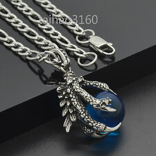 Top Stainless Steel Dragon Claw Blue Agate Ball Pendant Link Chain Necklace 290T