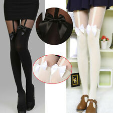 Womens Sexy Thigh-Highs Bow Pantyhose Tattoo Mock Bow Suspender Sheer Stockings