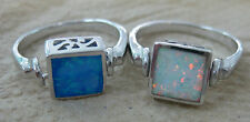 925 STERLING SILVER 2in1 Filigree Square Spinnable Cr. Opal Ring Sz L M PQ women