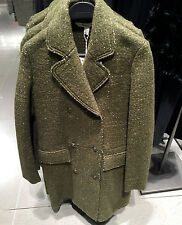 ZARA WOOL FABRIC COAT KHAKI MARL XS-XL Ref. 1255/215