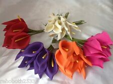 BUNCH OF 10 COLOURFAST FOAM CALLA LILY -  WEDDING BUTTONHOLE CAKE CRAFT NEW