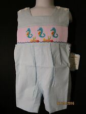 SMOCKED JON JON AQUA STRIPE SEERSUCKER SEAHORSES REMEMBER NGUYEN FULLY LINED